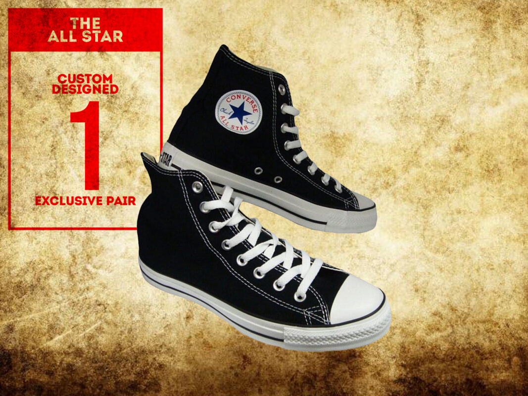 Custom designed Hiram Koopman Converse sneakers reward in Bellville clock tower crowdfunding campaign